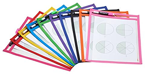 TYH Supplies Set of 10 Reusable Dry Erase Pockets, 9 x 12 Inches, Assorted Neon Colors - Dry Erase Classroom