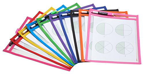 TYH Supplies Reusable Dry Erase Pockets, 9 x 12 Inches, Assorted Neon Colors Set of 10 (Erase Dry Squares)
