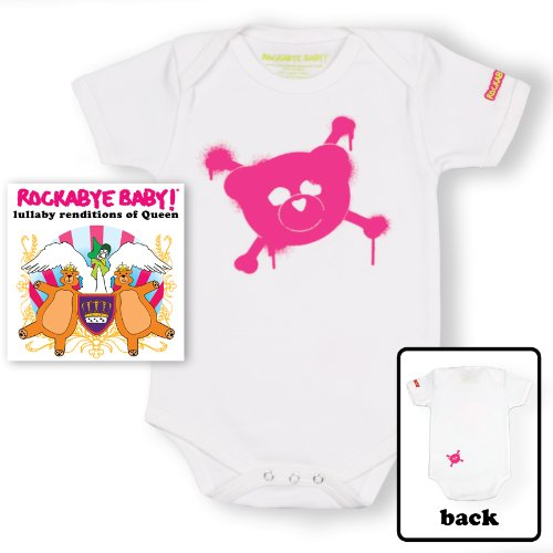 Price comparison product image Rockabye Baby! Queen + 100% Organic Cotton Bodysuit (White/Pink)
