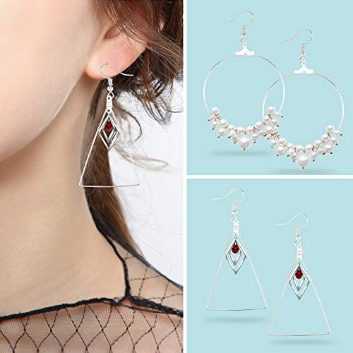 Yotako 36 Pcs Teardrop Round and Triangle Beading Hoop Earring Jewelry Finding with 40 Pcs Earring Hooks for Earring Jewelry Making Earring DIY Carft Gold//Silver