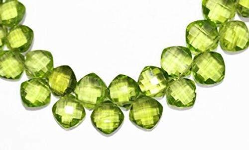 Beads Bazar Natural Beautiful jewellery Green Arizona Peridot Faceted Cushion Cut Square Gemstone Craft Loose Beads Strand 4 Pair 8mmCode:- NY-1855   B07L1WVDX1