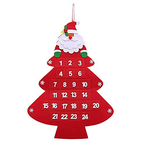 Kesoto Christmas 24 Day Hanging Cloth Advent Calendar Santa Claus Hanging Non-Woven Countdown Pockets Holiday Christmas Home Office Decor, 23 x 17 Inches