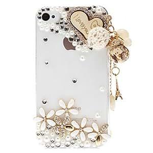 Rhinestone rom¨¢ntico del coraz¨®n y las flores Transparente de nuevo caso duro para el iPhone 4/4S