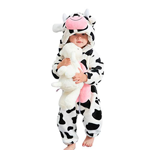 IDGIRL Baby Cow Costume, Animal Cosplay Pajamas for Boy Winter Flannel Romper Outfit 12-18 Months, White One Piece]()