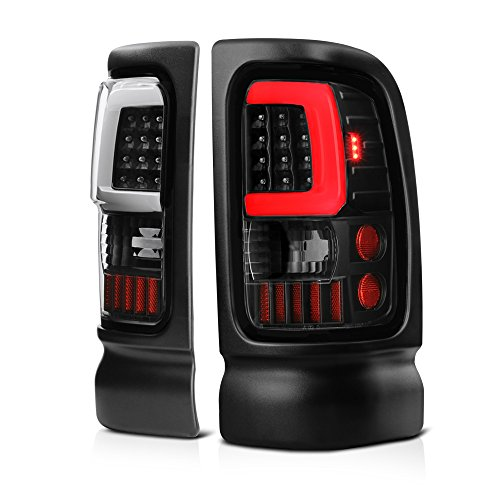 VIPMOTOZ OLED Neon Tube Tail Light Lamp For 1994-2001 Dodge RAM 1500 2500 3500 - Matte Black Housing, Driver and Passenger Side -