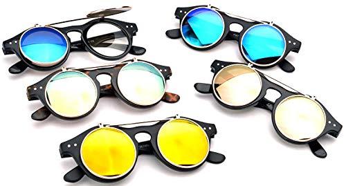 Classic Small Retro Steampunk Circle Flip Up Glasses/Sunglasses Cool Retro New Model