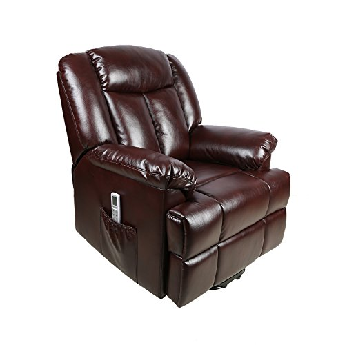 FVD Electric Power Lift Recliner Chair, 8 Point Massage Plus Heated System Classic and Traditional Executive Lounge Sofa Chair with Breathable Air Leather, Brown