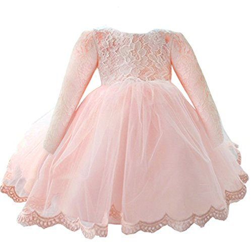 NNJXD Girls' Tulle Flower Princess Wedding Long Sleeve Dress For Toddler and Baby Girl Size 3-4 Years Pure - Sleeve Dresses Long Occasion Special