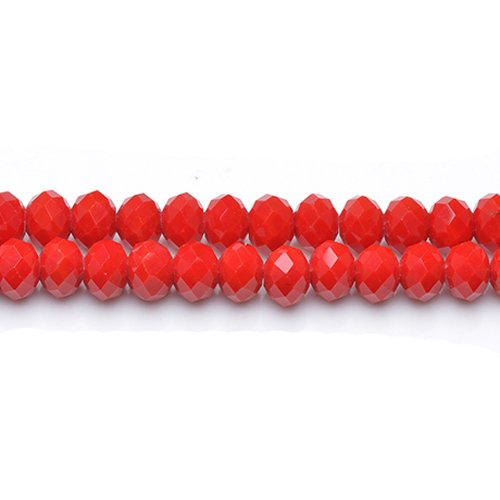 (70+ Dull Red Czech Crystal Glass 6 x 8mm Faceted Rondelle Beads GC12061-3 (Charming)