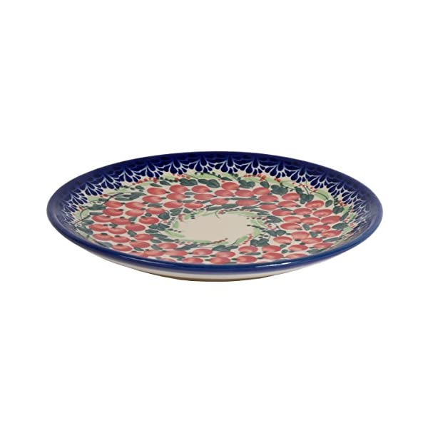 Traditional Polish Pottery, Handcrafted Ceramic Dessert Plate 19cm, Boleslawiec Style Pattern, T.102.Cranberry