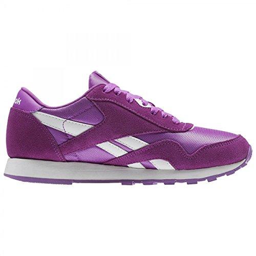 Deporte Violet De Nylon White Reebok Cl vicious Morado Para Zapatillas Niñas n4C5Ix5