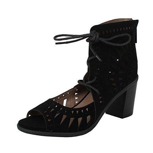 428a58ef843f Galleon - Breckelle s Women s Lasercut Stacked Chunky Heel Peep Toe Sandal  (7.5 B(M) US