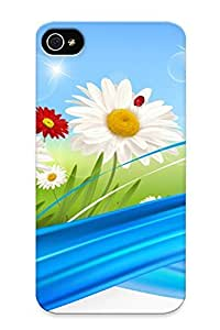 Hot Style QDxUYiM7355xGLql Protective Case Cover For Iphone4/4s(ladybugs On Daisies) For Thanksgiving Day's Gift