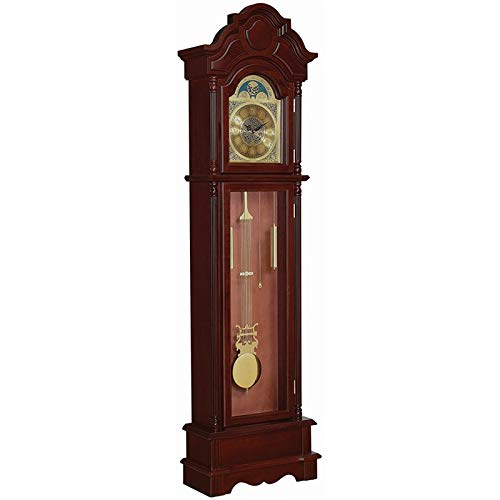 BOWERY HILL Grandfather Clock with Adjustable Volume Digital Chime in Brown Red