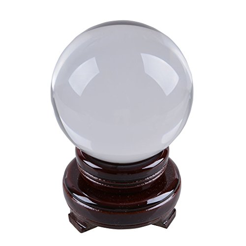 nch) Clear Crystal Ball Glass Globe Photography Props Free Wooden Stand Fortune Telling Home Decoration (Crystal Ball Fortune)
