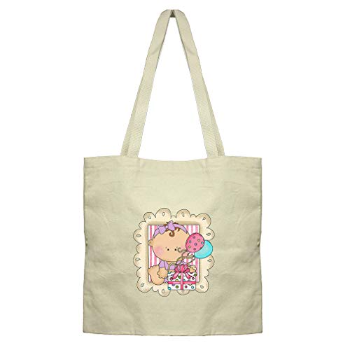 Baby Girl In Picture Frame Gift Boxes Cotton Canvas Flat Market Tote Bag by Style In Print