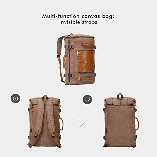 ad238b14d WITZMAN Men Vintage Canvas Rucksack Travel Duffel Backpack Retro Hiking Bag  2033 (19 inch Brown