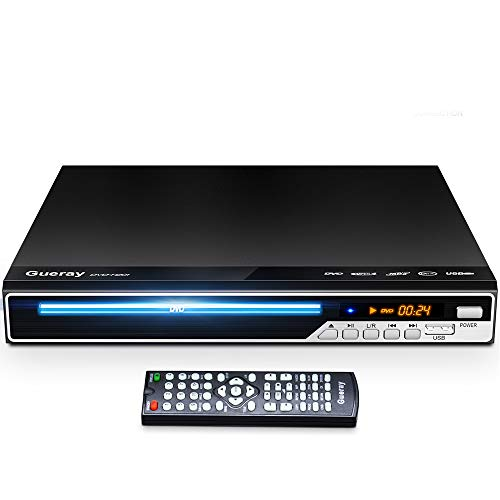 Gueray DVD Player, All Region Free DVD Player CD Disc Player for TV with HDMI/AV Output, HD 1080P, Supports MIC/USB…