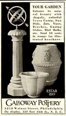 1938 Galloway Pottery Advertisement for Pots & Sundials Original Paper  Ephemera Authentic Vintage Print Magazine Ad/Article