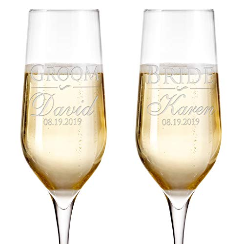 Set of 2 Personalized Wedding Champagne Flutes Engraved Glass Bride and Groom Gift Wedding Favors - Design 5 -