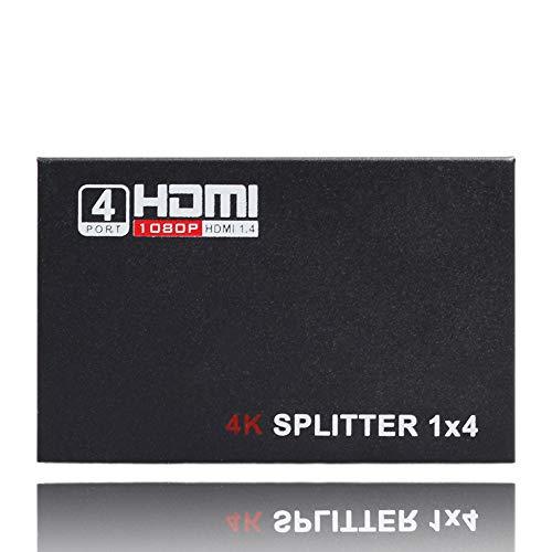 Lljin Full HD HDMI Splitter 4 Port Hub Repeater Amplifier v1.4 3D 1080p 1 in 4 Out 1X4