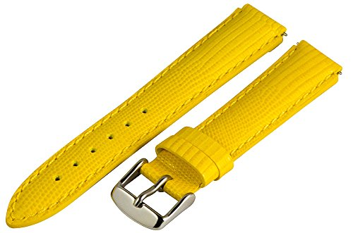 - 18mm x 15mm Leather Classic Lizard Yellow Interchangeable Watch Band Strap Fits Philip Stein Small