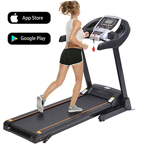 Folding Electric Treadmill Incline Motorized Running Machine Smartphone APP Control for Home Gym Exercise (Functional Treadmill-Gray)