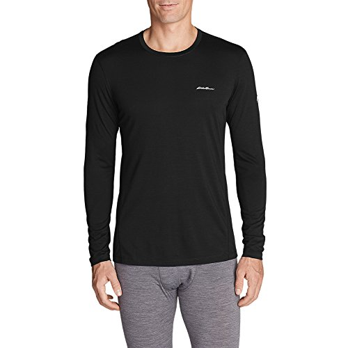 Eddie Bauer Men's Midweight FreeDry Merino Hybrid Baselayer Long-Sleeve Crew, B (Underwear Bauer Mens)