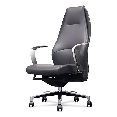 (Wrigley Genuine Leather Aluminum Base High Back Executive Chair - Dark Grey with Black Accent)