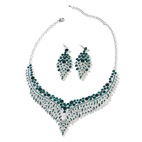 Bridal Crystal Earrings and Statement Bib Necklace Jewelry Set for Women 20