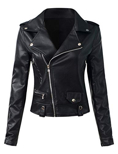 Sungtin Women's Faux Leather Motorcycle Biker Jacket Slim Short Coat (US Size S/6 = Chinese Size L, Black)