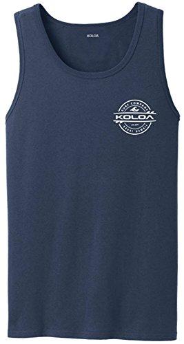 - Joe's USA Koloa Surf 2-Sided Thruster Logo Heavyweight Cotton Tank Top-Navy/w-3XL
