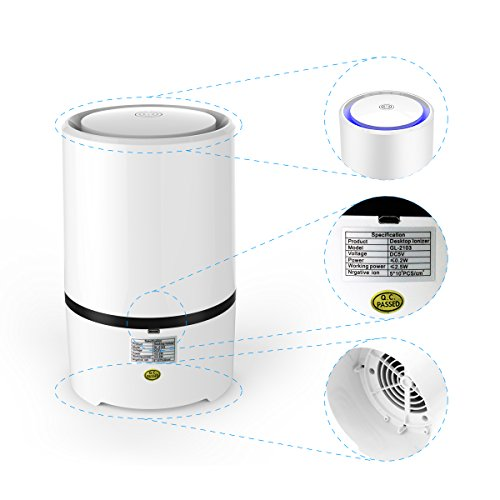 Air Cleaners For Smokers : Wsta air purifier with true hepa filter desktop odor