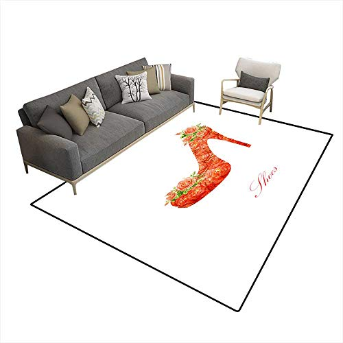 Room Home Bedroom Carpet Floor Mat Silhouette of a Women Shoes from Water Color Roses 6'6