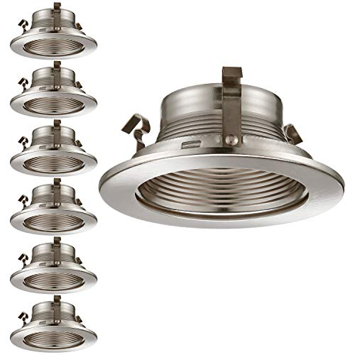TORCHSTAR 6 Pack 4 Inch Recessed Can Light Trim with Satin Nickel Metal Step Baffle, for 4 inch Recessed Can, Fit Halo/Juno Remodel Recessed Housing, Line Voltage Available