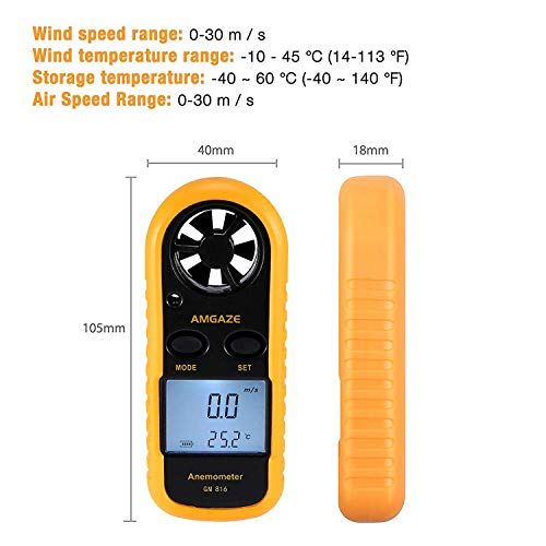 Amgaze Digital Anemometer LCD Wind Speed Gauge Handheld Air Flow Velocity Measurement Thermometer Device for RC Drones…