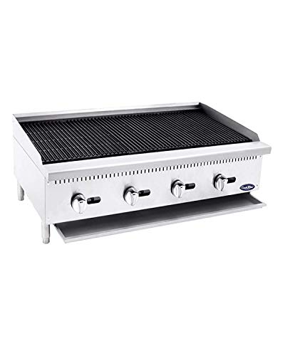 CookRite ATCB-48 Lava Rock Commercial Charbroiler Grill Smokeless BBQ Indoor Grill Char-Rock Broiler Natural Gas Stainless Steel- 140,000 BTU ()