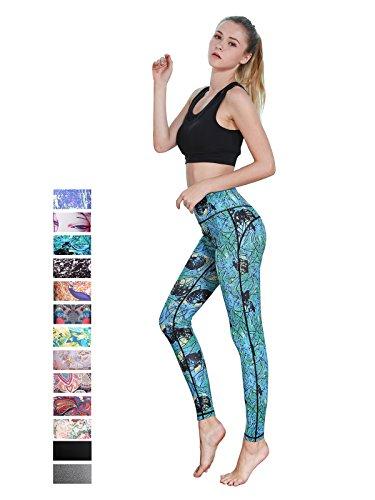 FINEMORE Women Girl High Waist Printed Yoga Pants Stretchy Pilates Workout Sport Yoga Leggings Regular Plus Size Green & Blue XL(US 16-18)
