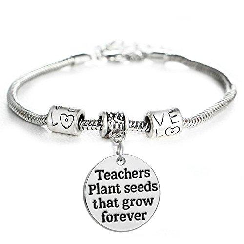 Teacher Plant Seeds That Grow Forever Charm Bracelet Love Beads Jewelry Gift For Teacher