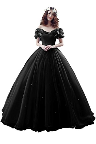 Avril Dress Cinderella Butterfly Ball Wedding Prom Quinceanera Gown for Girls-16-Black by Avril Dress