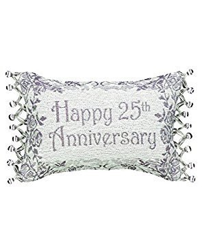 Manual Woodworkers & Weavers Word Throw Pillow,  25th Wedding Anniversary, 12.5 x 8.5