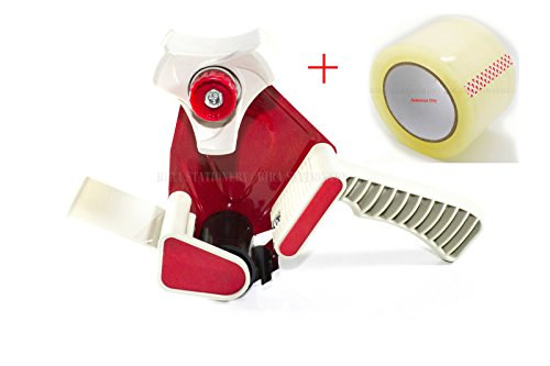 Bira Premium Heavy Duty Tape Gun Dispenser - 2 inch industrial Red Metal, includes 1 Quality Tape Roll, Ideal For Sealing Boxes Packaging and Moving by Bira Craft
