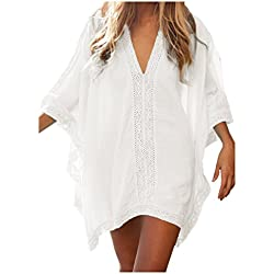 Walant Womens Solid Oversized Beach Cover Up Swimsuit Bathing Suit Beach Dress,White,One Size