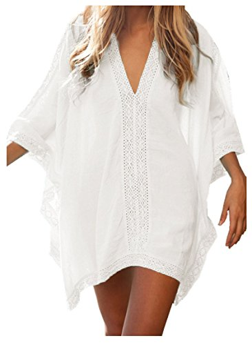 - Walant Womens Solid Oversized Beach Cover Up Swimsuit Bathing Suit Beach Dress,White,One Size
