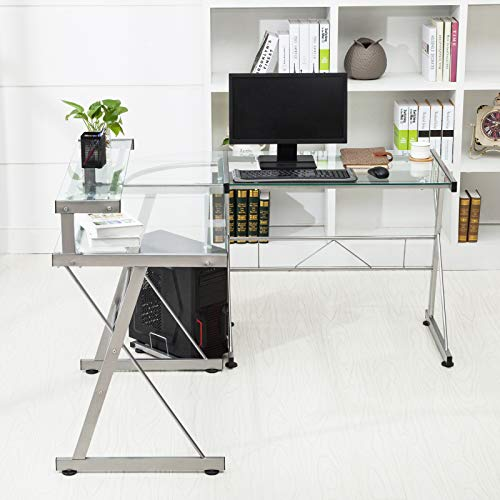 Mecor L-Shaped Corner Computer Desk with Shelf & Stand, Glass Laptop PC/Computer Table Workstation Home Office Furniture, Glass & Metal, Clear by Mecor (Image #1)