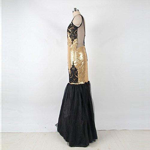 YOUJIA Damen Vintage Pailletten Kleid Lange Fishtail Abendkleid ...