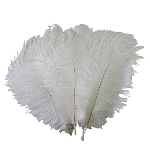 50PCS White Fullness Natural Ostrich Feathers DIY Craft Feather Home Decor for Wedding Sewing Crafts Costumes Decoration(15-20CM) (Turkey Costume Diy)