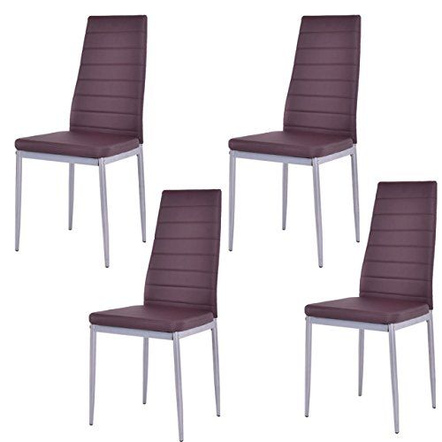 Koonlert@shop Set of 4 Elegant Dining Chairs Modern Design Comfortable Home Office Furniture/Brown #1004 (Furniture Melbourne Sale)