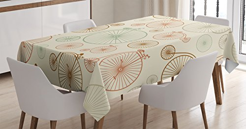 Ambesonne Vintage Decor Tablecloth, Vintage Bicycles with Antique Wheels Indie Background Classic Decor Illustration, Dining Room Kitchen Rectangular Table Cover, 52 X 70 inches, Ecru Green Red