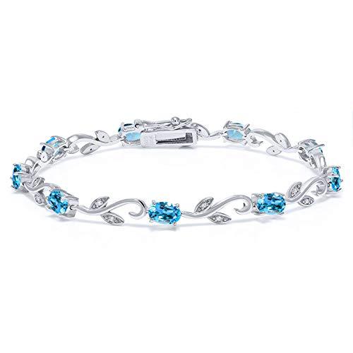 Gem Stone King 925 Sterling Silver 4.63Ct Swiss Blue Topaz Greek Vine 7 Inch Diamond Tennis Bracelet